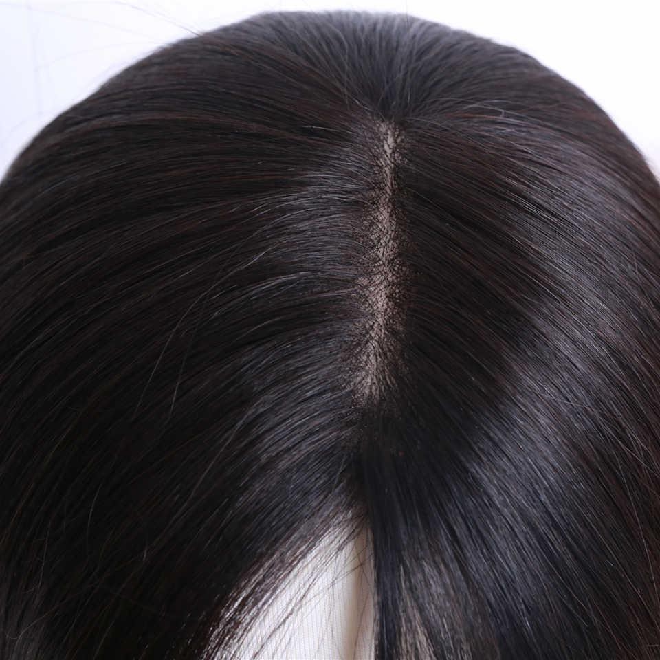 """15X16,16X18 Menselijk Haar Topper Pruik Voor Vrouwen 8 """"-14"""" Straight Mono + Pu base Met Clips In Haar Toupet Remy Haarstukje"""