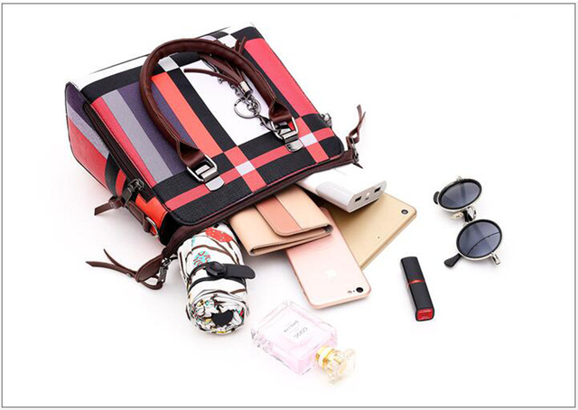 New 4pcs/Set Women Bags High Quality  Leather Shoulder Messenger Bags Tote Bag 4