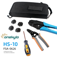 купить 6 In 1 Multi Wire Crimper Tools Kit Engineering Ratchet Terminal Crimping Plier with Wire Stripper Screwdriver 4 Spare Terminals дешево