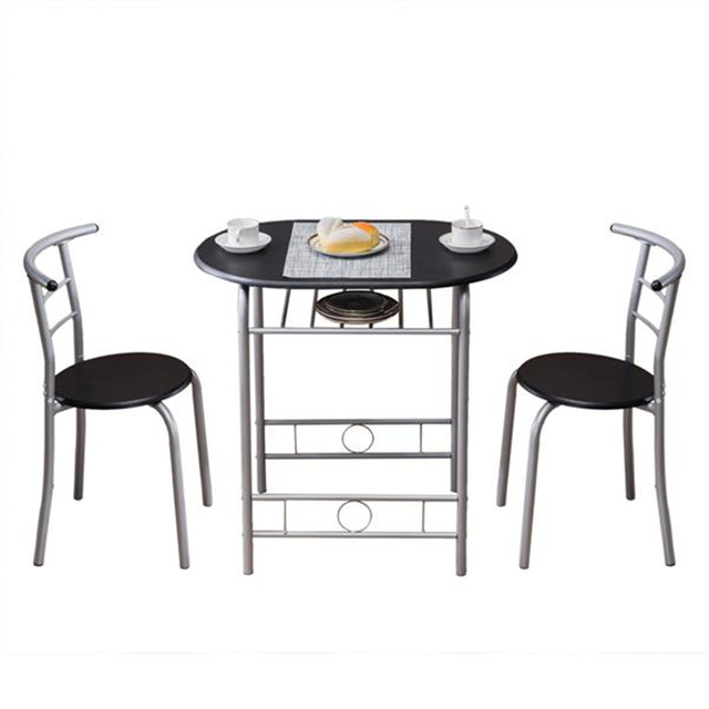 PVC Breakfast Table (One Table and Two Chairs) Black For Living Room Garden Kitchen Table Chairs Furniture 1