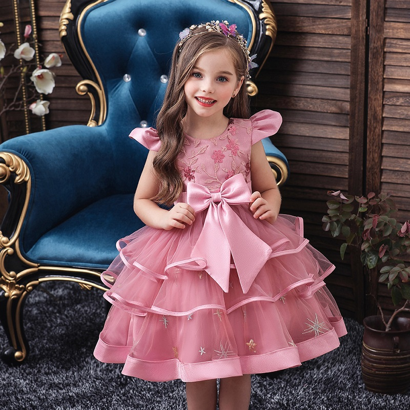 New Flower Girl Birthday Party Party Big Bow Embroidery Dress Girl Wedding Party First Eucharist Party Ball Beaded Dress