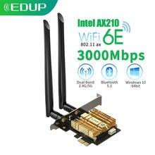 Edup 3000 Мбит/с wi fi 6 pci e intel ax210 bluetooth 52 Адаптер