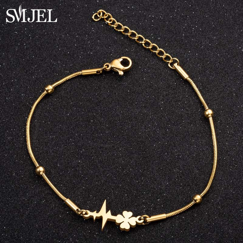 SMJEL Stainless Steel Bracelet For Women Man Lover's Clover Heartbeat Charm Engagement Jewelry Lover Gifts