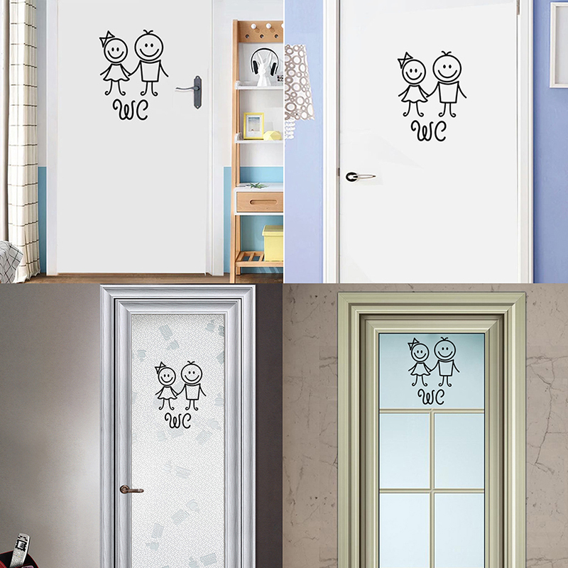 Washroom Toilet Wall Sticker Man Woman Letter Bathroom Door Stickers Home Decors