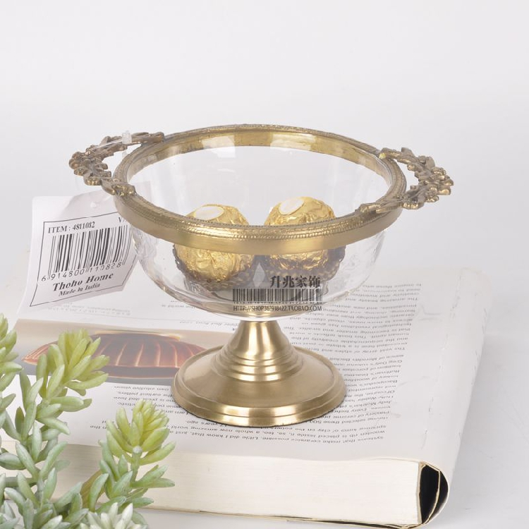 Northern European-Style American-Style French India Import Brass Transparent Glass Dried Fruit Tray Top Grade
