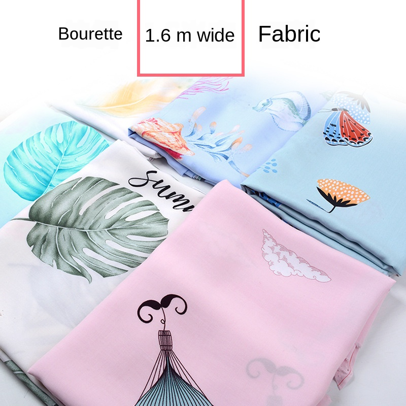 1.6M*1M Summer Thin Cotton Silk Dress Leisure Tops Pajamas Clothing Wide Bourette Rayon Fabric 100% Cotton Casual Plant Printed