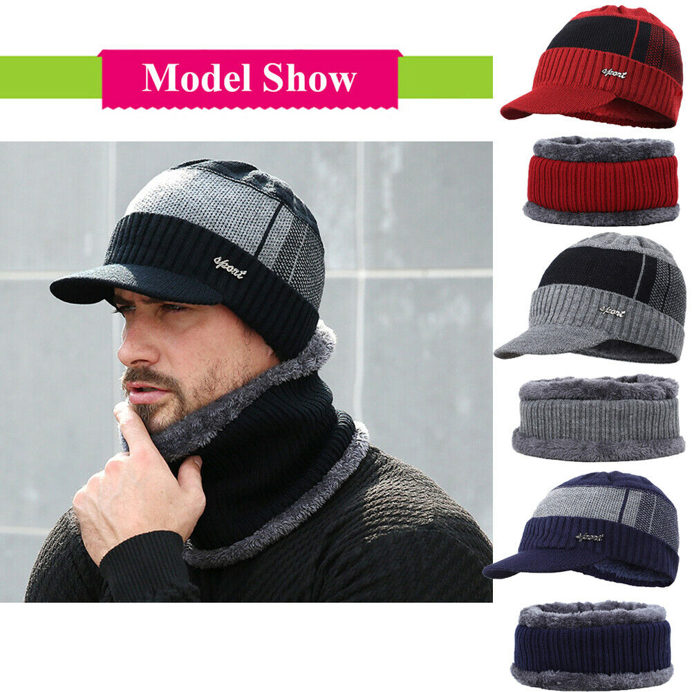Mens Winter Warm Hat And Scarf Set Unisex Knitted Cap Sets 4 Colours