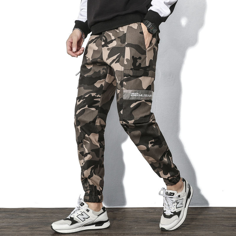Pepp Pure Cotton Bib Overall Male STUDENT'S 2019 New Style Trend Long Pants Korean-style Loose-Fit Camouflage Beam Leg Casual Pa