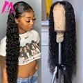 Волнистый фронтальный парик, кудрявые человеческие волосы, парики бразильские натуральные 13х4 Remy, 30 дюймов, волнистые, кружевные передние п...