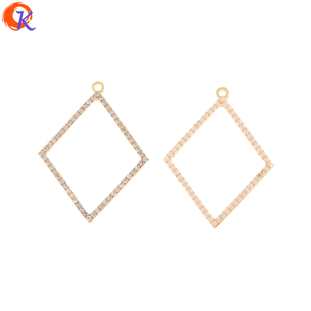 Cordial Design 50Pcs 30*39MM Jewelry Accessories/Charms/Rhombus Shape/Imitation Pearl/Hand Made/DIY Making/Earring Findings