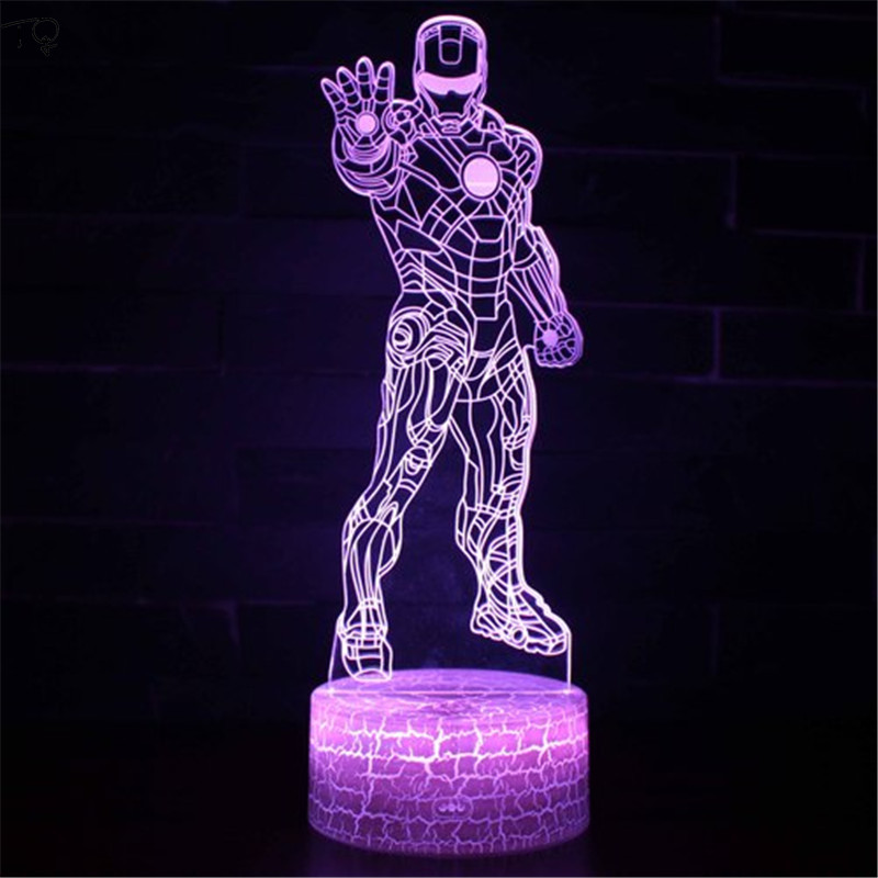 Iron Man Spider-Man Led Night Light Marvel Hero 3D Stereo USB Charging Explanation In English Creative Children's Birthday Gift