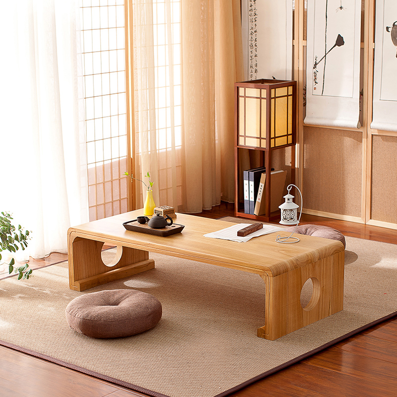 Simple Japanese Style Simple Solid Wood Tung Wood Table Computer Table Bay Window Coffee Table Retro Chinese Student Table