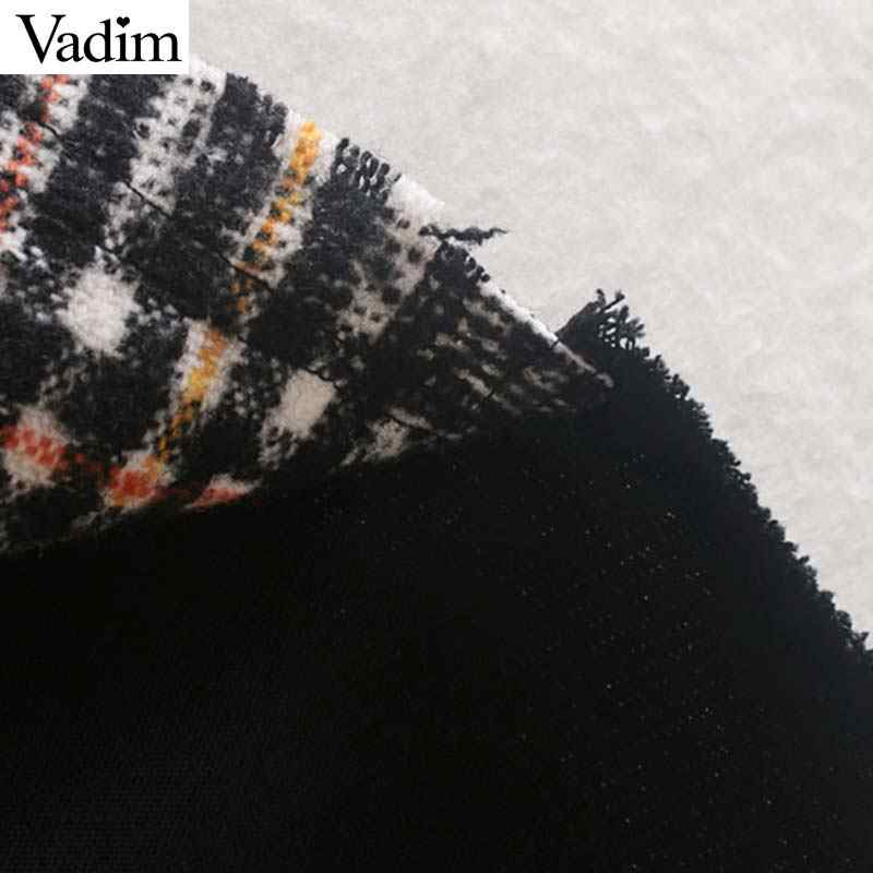 Vadim frauen stilvolle plaid patchwork jacke taschen lange hülse mantel weibliche casual übergroßen chic outwear tops mujer CA566