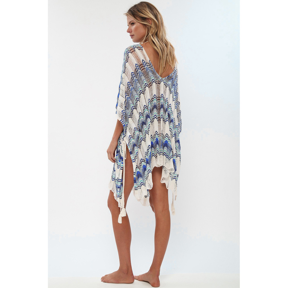 Sexy Beach Tunic Deep V Mesh Mini Dresses Knitted Cover Up 8