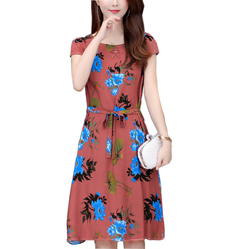 Summer New Women Cotton Dress Floral Printed O-Neck Short Sleeve Casual Loose Vintage  Dresses Plus Size 5XL Vestidos women summer red color long sleeve v neck cotton plus size kaftan dress s 5xl