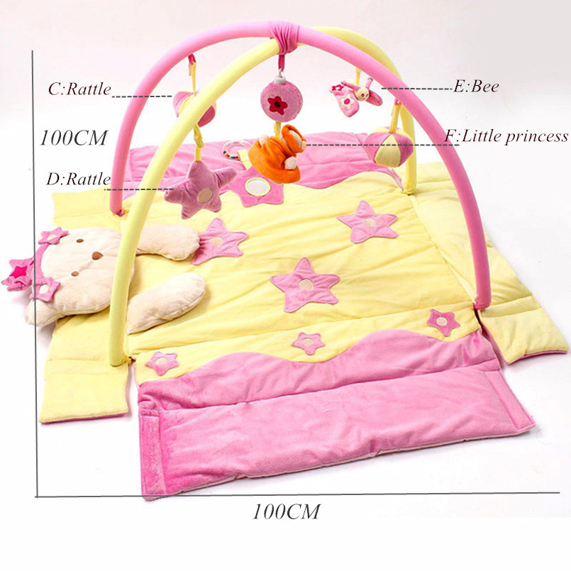 Baby Play Mat Baby Activity Gym Mat with Detachable Support Baby Bed Bell Musical Toys Sensory Training Baby Mattress | Happy Baby Mama