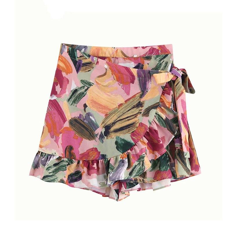 High Waist Vintage Stylish Floral Print Ruffles Women Shorts Skirts 2019 Fashion Side Bow Tie Sashes Zipper Skort Pantalones