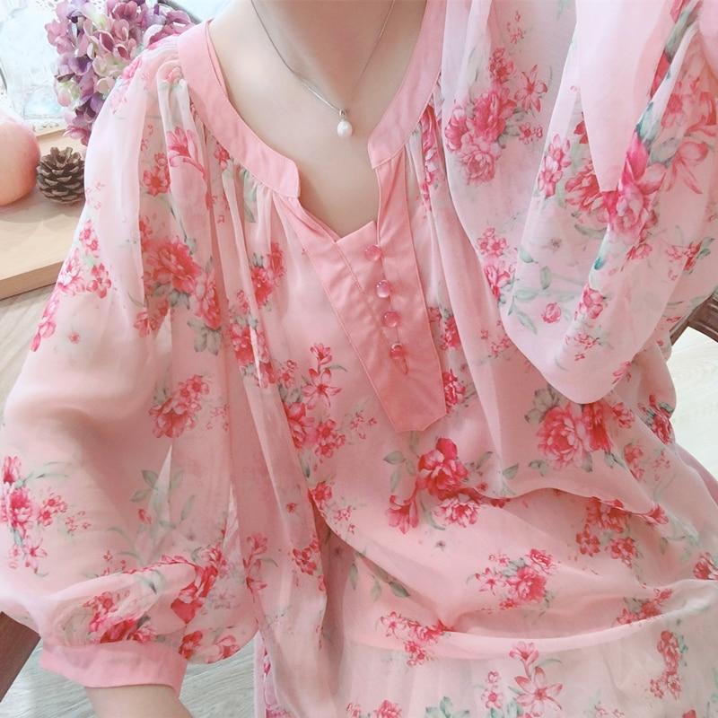 Original Design AIGYPTOS Summer Women Fresh Sweet Pink Oversized Blouses Lantern Sleeve Floral Print Casual Loose Chiffon Shirts
