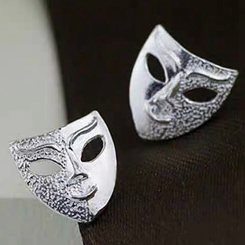 Personality Mask Man Earrings Hypoallergenic Chic Drama Face Mask Stud Earrings Gift Trendy Metal Unisex image