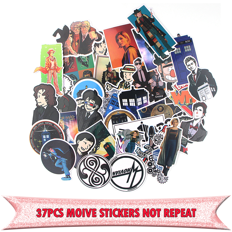 37pcs Doctor who charactor DIY decorative Pvc Waterproof sticker punk style for wall notebook phone scrapbooking album E0746