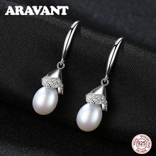 925 Sterling Silver Freshwater Pearl Drop Earings Women Vintage Wedding Earrings Jewelry 3 Colors