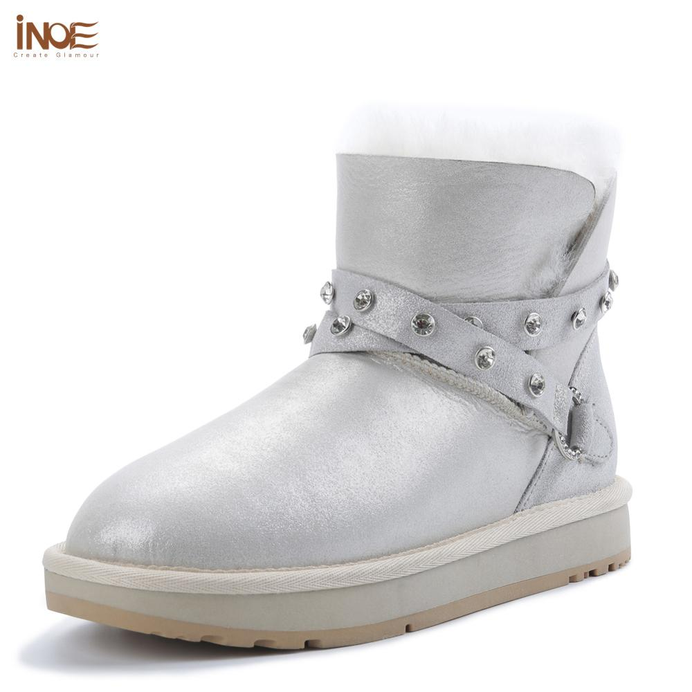 INOE Special Sheepskin Leather Natural Fur Lined Rhinestone Strap Fashion Women White Ankle Winter Boots Warm Shoes Snow Boots