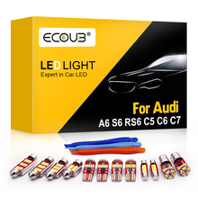 Светодиодный интерьерные лампочки комплект для Audi A6 S6 RS6 C5 C6 C7 купольная карта багажник двери накладные Canbus Error Free белый автомобильный Свети...