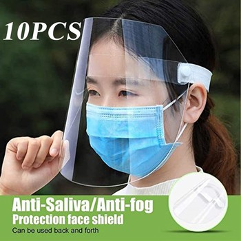 10Pcs Adult Transparent Protective Full Face Shield Droplet-proof Splash-Proof Adjustable Harmless Face Mask Cycling Equipment image