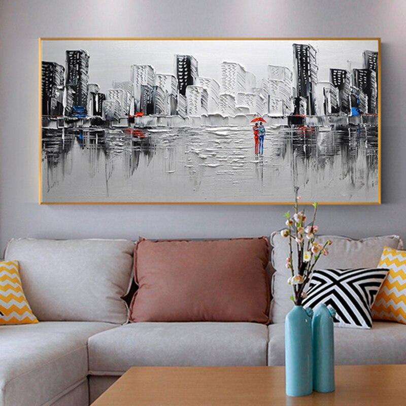 Noir et blanc paysage urbain toile peinture décoration de la maison mur art peinture murale