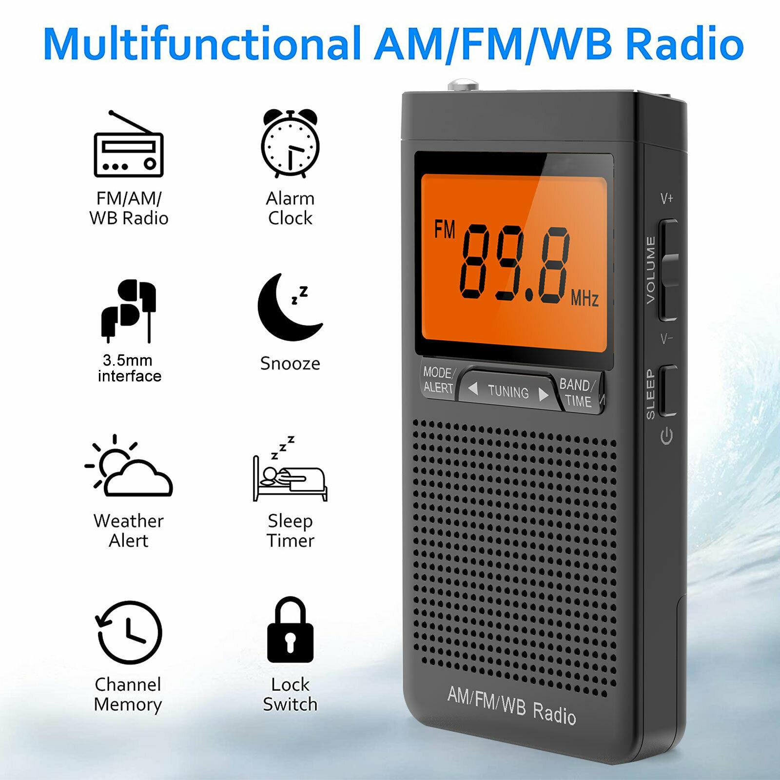 Mini rádio am fm alto-falante portátil com fone de ouvido jack despertador estação de rádio tempo emergência bolso rádio ao ar livre