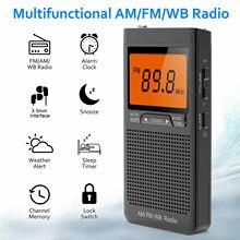 Mini AM FM Radio Portable Speaker With Headphone Jack Alarm Clock Emergency Weather Radio Station Pocket Radio Outdoor