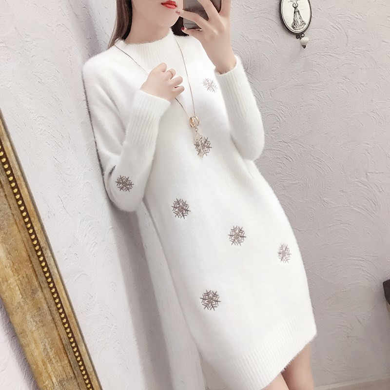 Women Knit Sweater Pullover New Fashion Imitation Mink cashmere Mini White Dress Half Turtleneck Sweater Jumper Loose Large Size