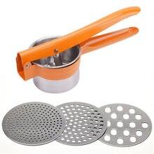 Masher de Ricer de pomme de terre d'acier inoxydable avec 3 disques interchangeables de finesse outils de légume de Fruit outils de cuisine de broyeur de presse