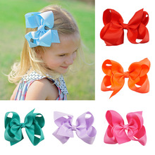 5Pcs/Lot 4 Solid Grosgrain Ribbon Hair Bow With Clips for Girls Handmade Boutique Hair Bows For Kids Hair Accessories цена