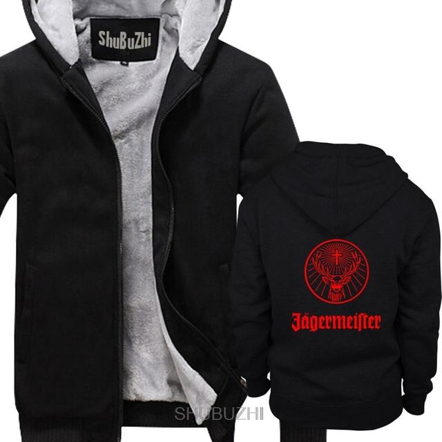 Męska Jagermeister Music Tour Logo mężczyźni grube bluzy w stylu zimowym moda marka człowiek z kapturem fajne płaszcze sbz6308 tanie tanio shubuzhi Pełna REGULAR Hip Hop NONE zipper Drukuj COTTON Elastan
