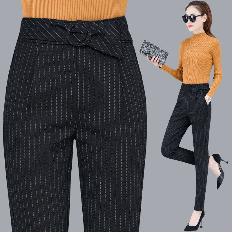 Stripe Casual Office Pencil Pants Elastic High Waist Harem Pants Women Spring 2020  Women Trousers Plus Size Ankle Length Pants