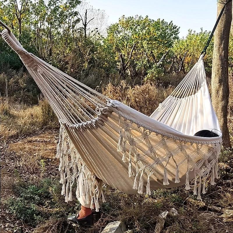 hamac romantique en dentelle lit balancoire de jardin portable haute qualite 200x150cm chaise suspendue de camping en plein air