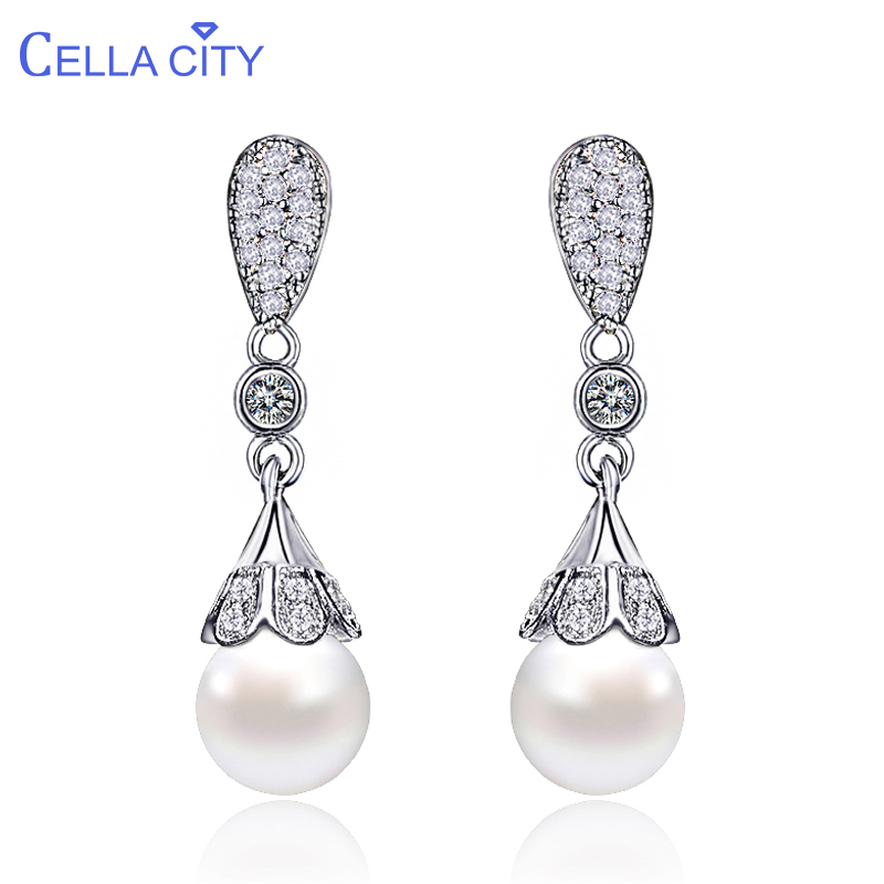 Cellacity Classic 925 Silver Drop Earrings For Woman With 10mm Round  Shape Pearl  Earrings Silver  Jewelry  Wedding Party Gift