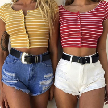 Woah 2020 knitting speed sell through ebay choli 2019 summer in Europe and the striped shirt female fashion cultivate image