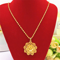 Fashion 14K Gold Necklace for Women's Wedding Engagement Jewelry Delicate Flower Lotus Pendant Chain Necklaces Jewelry Gifts