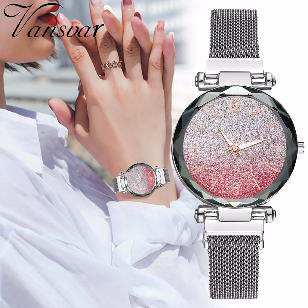 Women Magnet Buckle Gradient Color Starry Sky Watch Luxury Ladies Stainless Steel Mesh Belt Quartz Watches Gift Clock