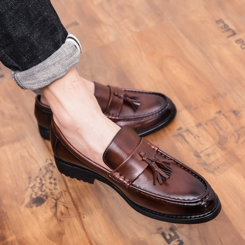 Outdoor Fashion Men Leather Loafers Shoes Slip On Shoes For Men Italian Leather Men Loafers Brand Men Wedding Flats Shoes W5