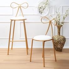 Скандинавский золотистый стул для кафе бар бабочка стул Железный бант металлический стул для кафе открытый офис креативный стул для отдыха дома золотое украшение