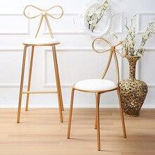 Скандинавская Золотой стул для кафе-бар бабочка стул Железный лук стул Кафа металла открытый офис творческая гостиная для дома декор золото