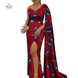 Robes d'impression de cire africaine pour les femmes Bazin Riche col en V fête élégante robes longues Dashiki robes africaines pour les femmes WY7261