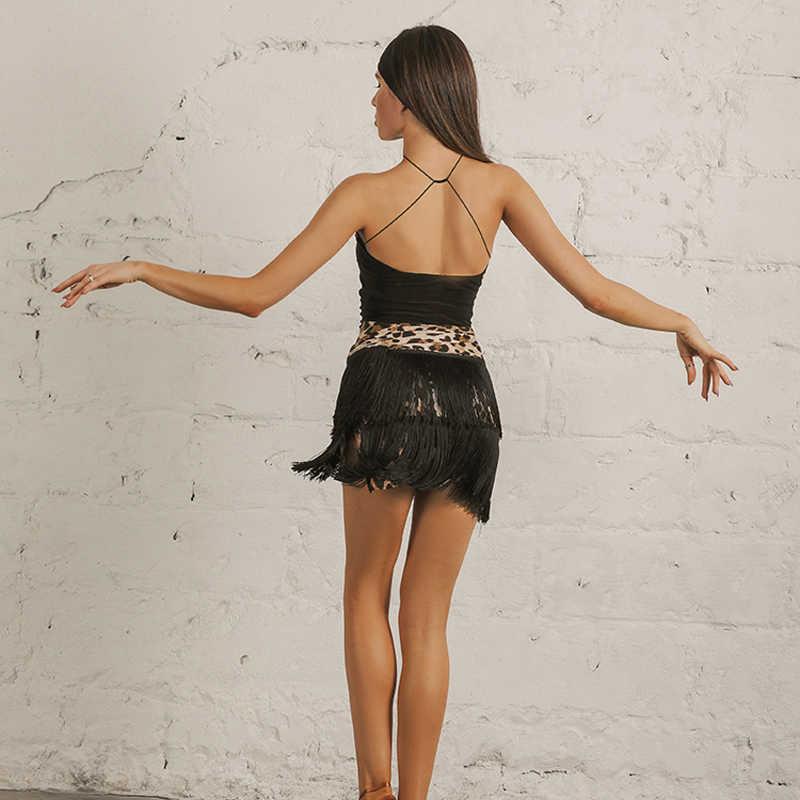 2020 leopardo dança latina saia moderna roupas de dança moda saia curta clube palco desempenho dupla camada franja saia i397