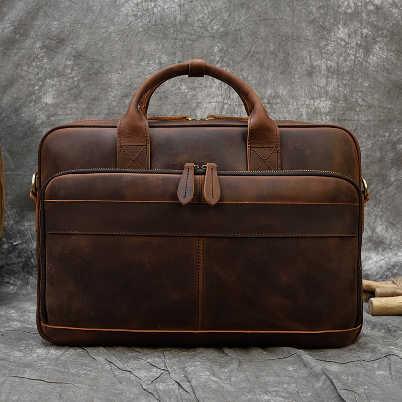 """Hb45ed4f8a2254a55a2ddcaa69adca26eY MAHEU Men Briefcase Genuine Leather Laptop Bag 15.6"""" PC Doctor Lawyer Computer Bag Cowhide Male Briefcase Cow Leather Men Bag"""