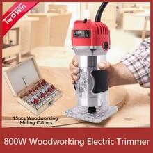 木工電動トリマー 800 ワット 30000rpm木材フライス彫刻スロッティングトリミング機ハンド彫刻機木材ルータ