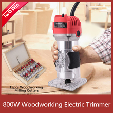 ไม้ไฟฟ้าTrimmer 800W 30000Rpmไม้แกะสลักSlottingเครื่องตัดมือแกะสลักไม้Router