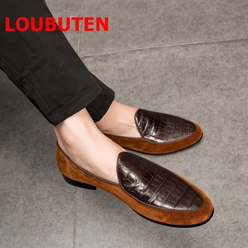 LOUBUTEN Summer Genuine Leather Driving Shoes Men Loafers Patchwork Breathable moccasins Slip On Mens Dress Shoes Casual Flats цена 2017